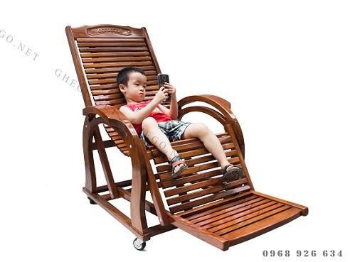 ghế thư giãn gỗ, ghế lười gỗ lim
